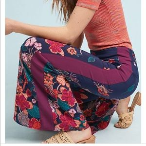NWT Anthropologie Floral Flared Track Pant 10